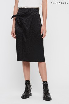 AllSaints Black Leopard Wrap Midi Skirt