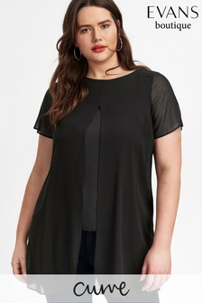 Evans Curve Black Split Front Top