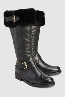 Signature Comfort Leather Biker Tall Boots