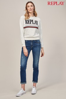 Replay® Jacksy Straight High Rise Vintage Wash Jean