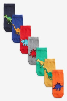 7 Pack Cotton Rich Bright Dinosaur Socks (Younger)