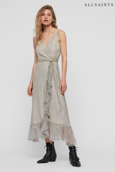 AllSaints White Speckle Dayla Wrap Dress