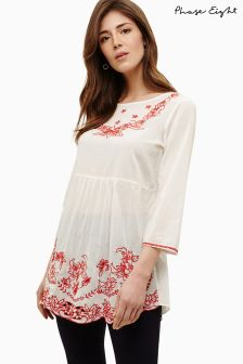 Phase Eight White/Red Nigella Embroidered Blouse