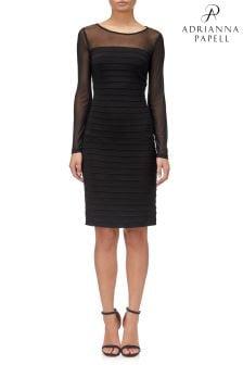 Adrianna Papell Black Jersey Pintucked Dress