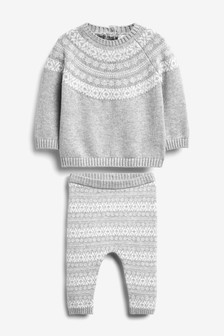 Fairisle Pattern Knitted Jumper and Leggings Set (0mths-2yrs)
