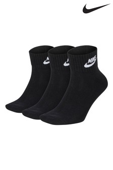 Nike Adult Black Heritage Mid Cut Crew Socks Three Pack