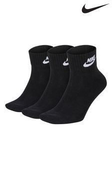 Nike Adult Black Heritage Mid Cut Socks Three Pack