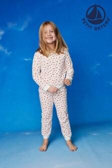 Petit Bateau White And Pink Floral Velour Pyjamas