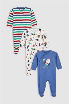 Rocket Sleepsuits Three Pack (0mths-2yrs)