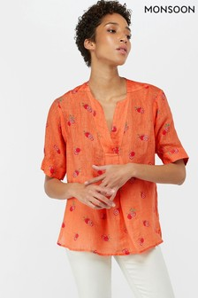 Monsoon Ladies Orange Cameron Pomegranate Linen Gauze Top
