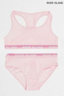 River Island Pink Racer Bralette And Brief Set