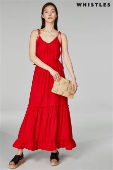 Whistles Red Tie Shoulder Tassel Maxi Dress