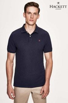 Hackett - Polo blu a maniche corte con logo e vestibilità slim