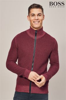 BOSS Afurly Zip Through Knit Jumper