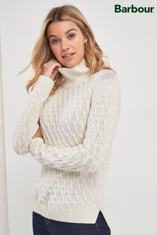 Barbour® Coastal Off White Bourne Roll Neck Jumper