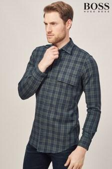 BOSS Khaki Rigby Check Overshirt
