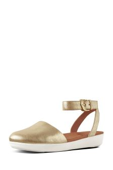 FitFlop™ Gold Cova™ Closed Toe Metallic Leather Sandal