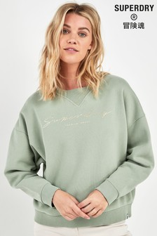 Superdry Green Slouch Sweat Top
