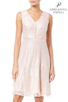 Adrianna Papell Pink Rose Lattice Lace Dress