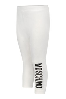 Baby Girls Ivory Cotton Logo Leggings