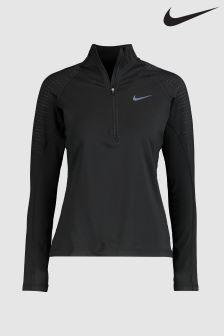 Черный джемпер с молнией до середины груди Nike