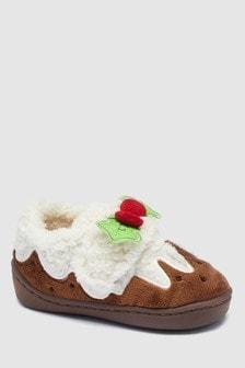 Hausschuhe mit Weihnachtspudding-Motiv (Jünger)