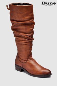 Dune Tan Tabatha Rouched Tall Boot