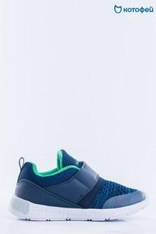 Темно-синие кроссовки с трикотажными вставками и зеленой отделкой Kotofey