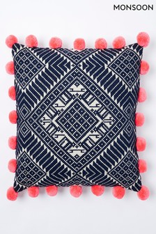 Monsoon Aztec Pom Pom Cushion