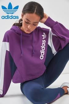 adidas Originals 90s Block Purple Crop Hoody