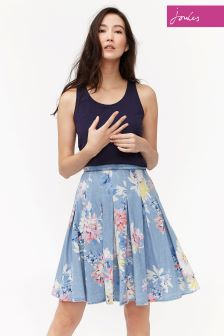 Joules Chambray Floral Vivien Printed Skirt