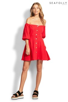 Seafolly Red Off The Shoulder Dress