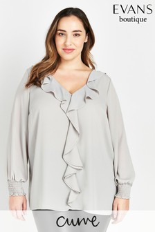Evans Curve Grey Frill Front Top