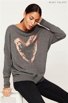 Mint Velvet Grey Granite Heart Foil Print Knit
