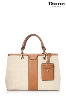 Dune Accessories Tan Medium Herringbone Tote Bag