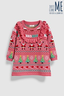 Girls Christmas Wrapping Paper Frill Jumper Dress (3mths-6yrs)