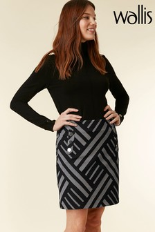 Wallis Grey Geometric Jacquard Aline Skirt