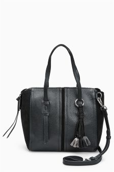 Leather Flower Charm Tote Bag