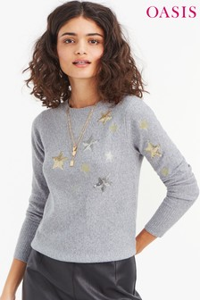 Oasis Grey Iris Star Jumper