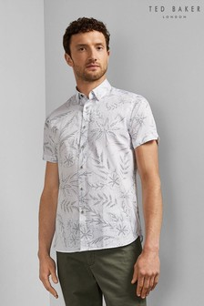 Ted Baker White Short Sleeve Floral Shirt