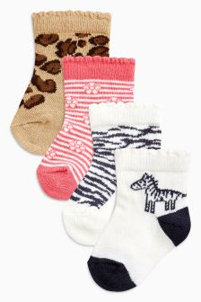 Animal Print Socks Four Pack (Younger)