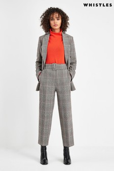 Whistles Grey Tapered Check Trousers