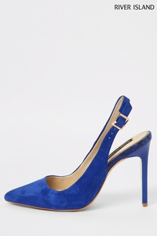 River Island Navy Suede Slingback