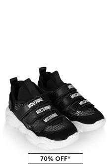 Boys Black Strap Trainers