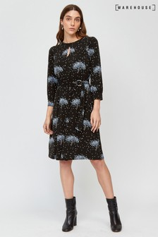 Warehouse Black Star Tree Print Dress