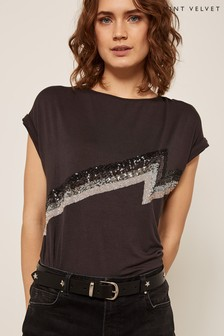 Mint Velvet Grey Sequin Lightning Bolt Tee