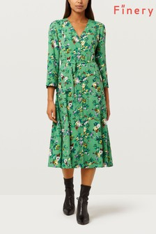 Finery London Daniella V Green Floral Printed Dress