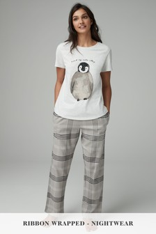Penguin Check Pyjamas With Ribbon Wrapping