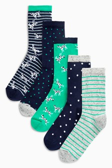 Dalmatian Pattern Ankle Socks Five Pack