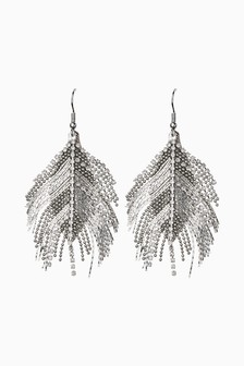 Jewelled Feather Effect Earrings